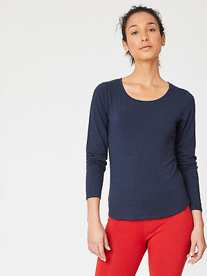Thought Dark Navy Blue Long Sleeve Top T Shirt Base Layer Comfy Bamboo Jersey