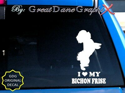I Love My Bichon Frise - Vinyl Decal Sticker / Color Choice - High Quality