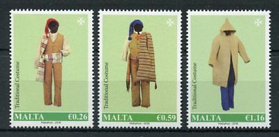 Malta 2018 MNH Traditional Costumes Costume 3v Set Cultures Traditions Stamps