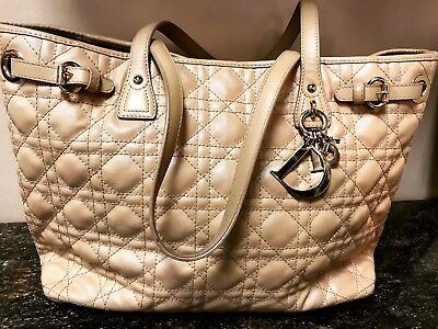 4b42cad4d75c CHRISTIAN DIOR Coated Canvas Cannage Quilted Small Panarea Tote Beige