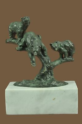 Bronze Sculpture Statue Green Patina Grizzle Bear Family On A Tree Stub Gift Dec