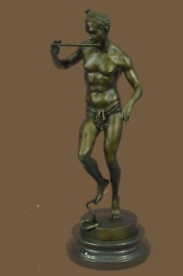 Bronze Sculpture Statue Art Deco Nude Male with Dancing Snake Handcrafted by Los