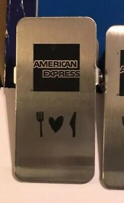 20 Amex Guest Check Presenters Silver & Black Metal Clips - New - Restaurant Bar