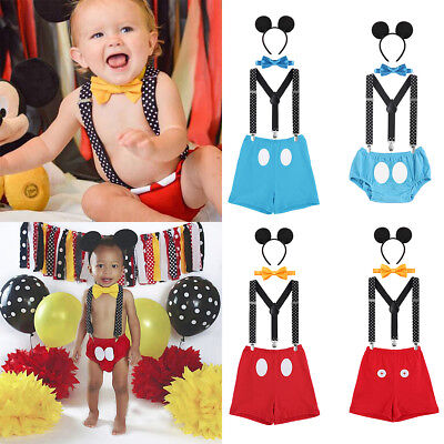 Baby Boy 1st Birthday Mickey Mouse Ear Bow Tie Suspender Pants Cake Smash Outfit