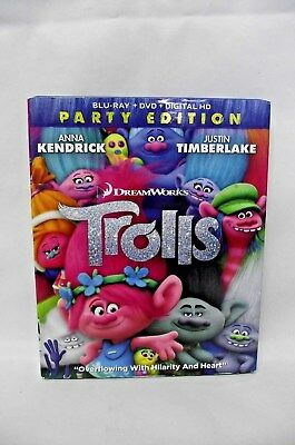 Trolls (DVD/Blu-ray Disc, 2017, 2-Disc Set) PARTY EDITION