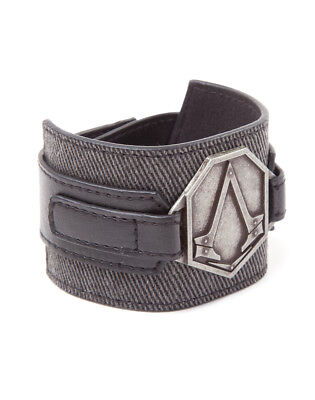 Assassins Creed Wristband with metal patch, Grey Black