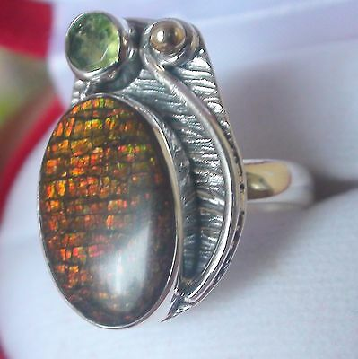 Natural Multi Color Ammolite 15.50 Ct Ring 925 Sterling Silver.size 10.0.