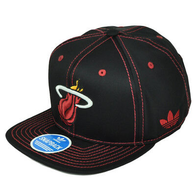 66891e677abce Miami Heat Adidas Black Red Snapback NZG99 Hat Cap Flat Bill Basketball  Nylon
