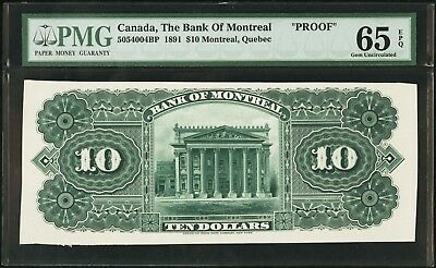 """""""PMG-65 EPQ"""" RARE PROOF 1891 Canada The Bank of Montreal 10 Dollars, 5054004BP"""