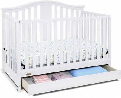 White 4 In 1 Crib With Storage Drawer Converts To Toddler Bed Day