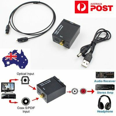 AU Digital Optical Coax Coaxial Toslink to Analog Audio Converter Adapter RCA
