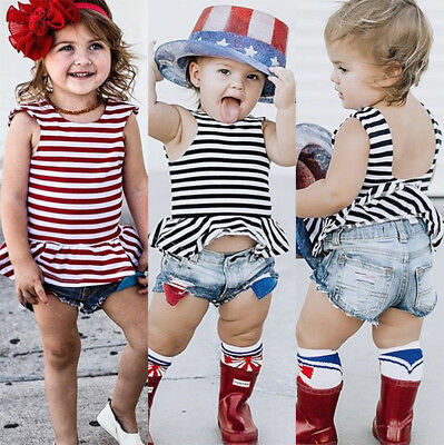 Fashion Toddler Kids Baby Girls Summer Backless Tops Denim Shorts 2Pcs Outfits