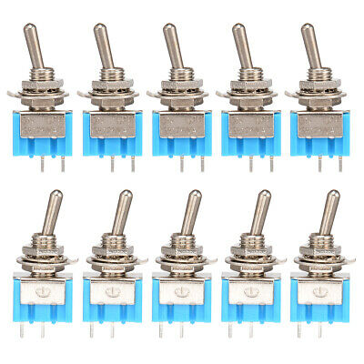 10 Pcs 2 Pin SPST ON-OFF 2 Position 6A 150VAC Mini Toggle Switch Car Truck Auto
