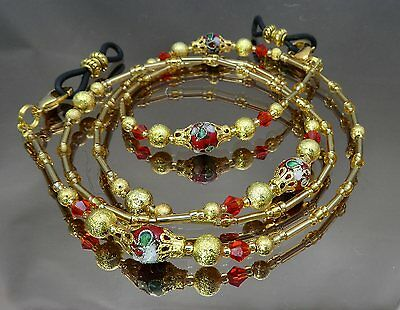 Spectacle Glasses Eyewear Beaded Chain Holder Red Cloisonné Gold (S1804)