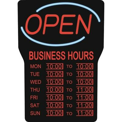 Led Open Sign W/ Business Hours