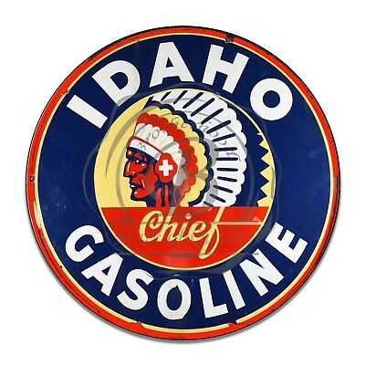 Vintage Gas & Oil Idaho Gasoline Chief Reproduction Circle Aluminum Sign
