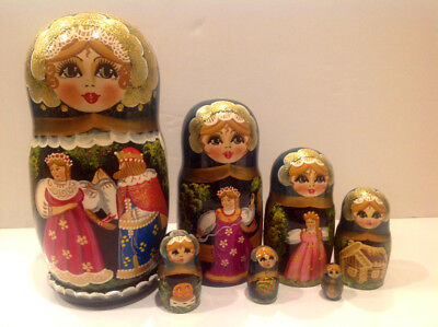 """Russian Nesting Doll Fedoskino Style """"Russian Fairy Tales"""" 9.5"""" H"""