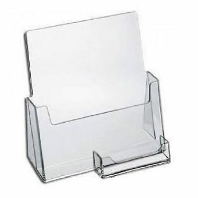 2 Pack Clear Large Brochure Holder With Business Card Flyer Stand AZM Displays