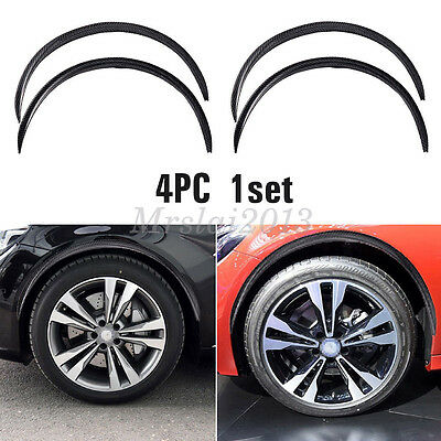 4x Carbon Fiber Car Wheel Rubber Eyebrow Protector Arch Trim Flare Fender Strip