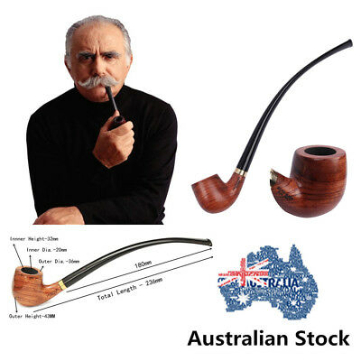 9'' Long Handle Classic Bent Stem Tobacco/Smoking Pipe Rosewood Long AU Stock