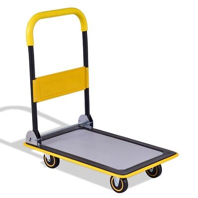 Folding 330 lbs Platform Cart Dolly Hand Truck Tool Iron & PU Wheels Modern US
