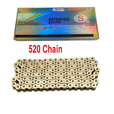 Gold 520 Motorcycle Chain 120 Links O Ring for Pit Dirt Bike Trail ATV QUAD