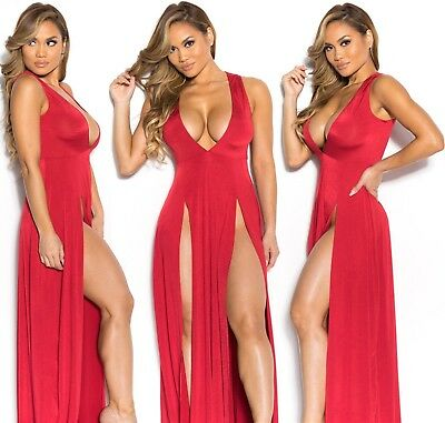 Abito lungo aperto nudo scollo aderente Spacco Cerimonia Maxi Slit Party Dress S