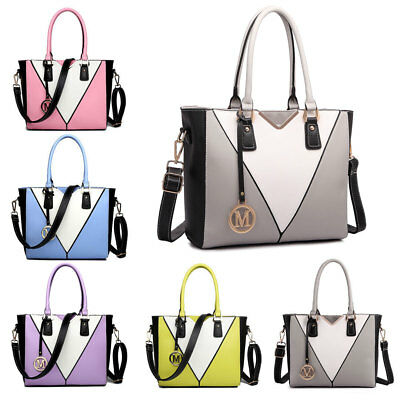 Women Designer PU Leather Shoulder Handbag Tote Patchwork Snake Skin V-Shape