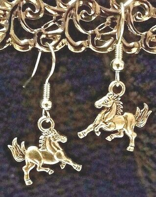 Mustang Pony Horse Tibetan Silver Drop Hook Earrings Handcrafted Jewelry