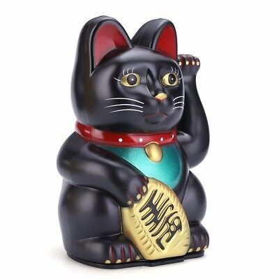Feng Shui Black Beckoning Cat Wealth Waving Kitty Lucky Cat Plastic Shop Office