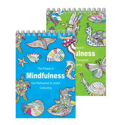 2 x Spiral Adult Relaxing Art Therapy Colouring Book Anti-Stress Art 90 Designs