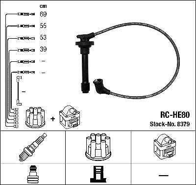Ignition Ht Lead Set Ngk Rc-He80              8379
