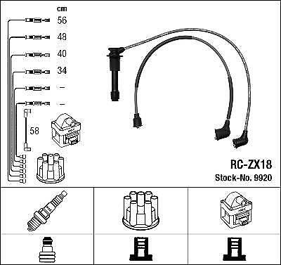 Ignition Ht Lead Set Ngk Rc-Zx18              9920