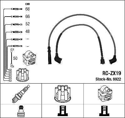 Ignition Ht Lead Set Ngk Rc-Zx19              9922