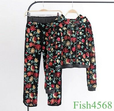 Womens Floral Embroidery Jacket Pants Sports Suits Velvet Loose Fit Casual Coat