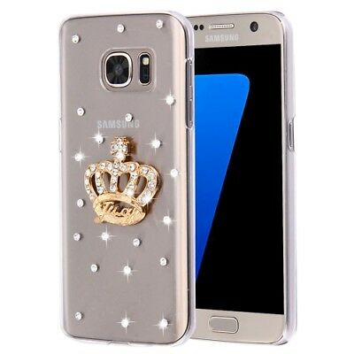 Pochette de protection Diamant couronne pierres Strass Silicone Galaxy S7