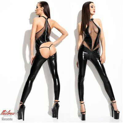 Set Angela Catsuit Sexy Lungo in Latex Nero Lucido Velato Davanti e Natiche Scop