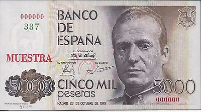 Spain , 5000 Pesetas , 23.10.1979 , P 160s , Specimen # 337 , Scarce, Not listed