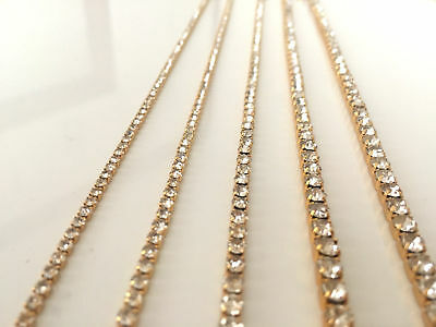 A++ Quality Gold Diamond Diamante Crystal & AB Chain Various Arts & Crafts 1m UK