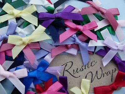 7mm  Satin Ribbon Small Bows, Weddings, Crafts, Favours, Card Embellishments
