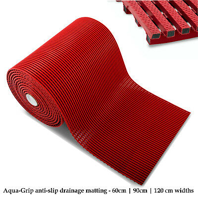 Anti-Slip Matting Flooring Mats Pool Drainage Hygiene Red Safety Rubber Floor