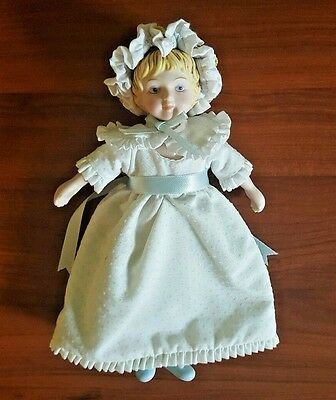 Avon Porcelain Bisque Victorian Vintage 1983 Collector Doll White Dress and Hat