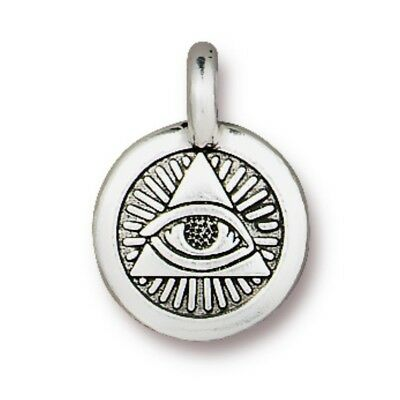 TierraCast Eye of Providence Charm Antique Silver Plated Lead Free Pewter (T377)