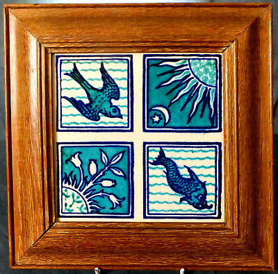 RARE FRAMED MAW & Co QUARTERED ARTS & CRAFTS TILE