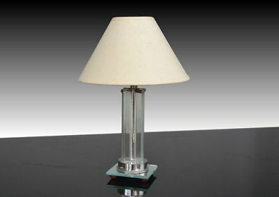 Modernist lamp. Glass and nickel plated metal. 1930. Art Deco
