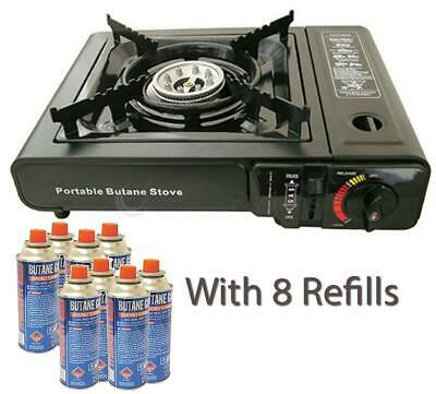 Portable Camping Gas Stove Cooker Burner Single Ring 8 Butane Refills Canisters