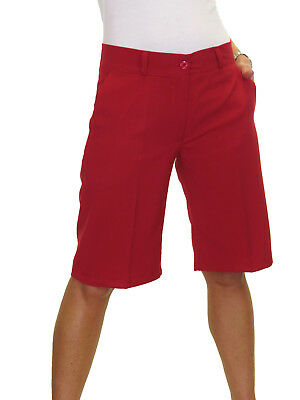 Ladies Smart Summer Casual Washable Knee Length Tailored Shorts Red NEW 8-22