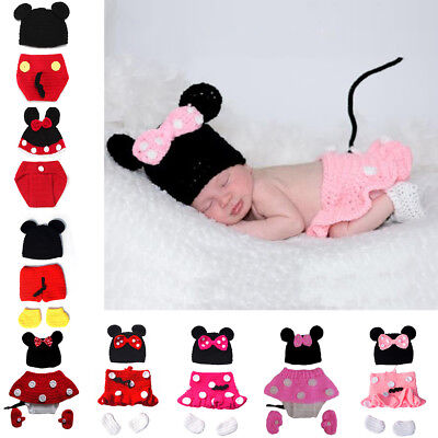 Newborn Baby Boy Girl Mickey Minnie Mouse Crochet Knit Hat Costume Photo Outfits