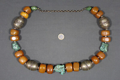 Superb ancient Moroccan berber necklace with amber beads, turquoise and silver