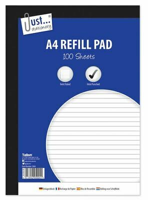 A4 Refill Pad Ruled 160 Pages Margin Lined Writing Note Book Punched Holes Pad